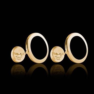 Bouton de manchette chevalière onyx or jaune vermeil 13,4g Ovalis