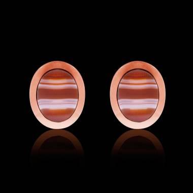 Boutons de manchettes chevalière agathe zonée en or rose vermeil 13,4g Ovalis