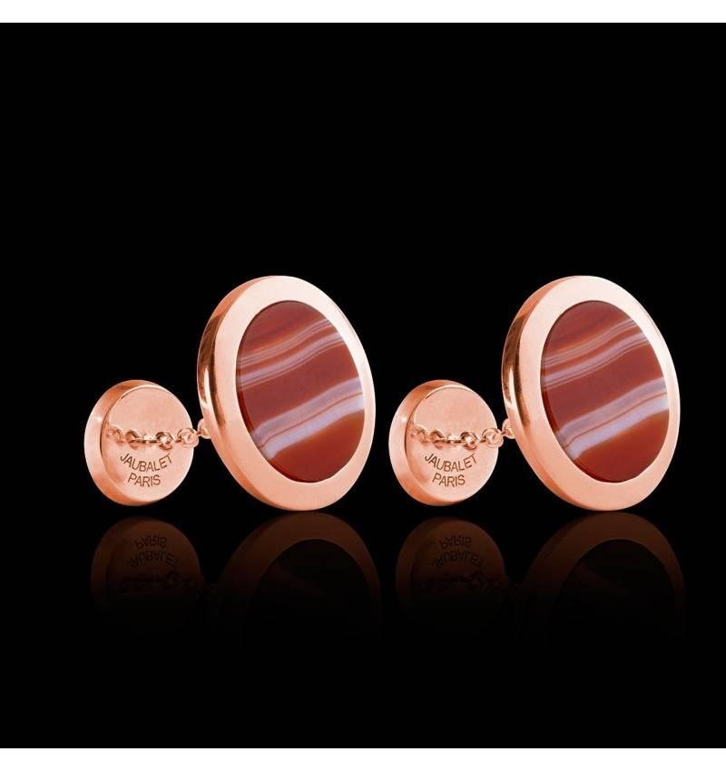 Bouton de manchette chevalière agathe zonée en or rose vermeil 13,4g Ovalis