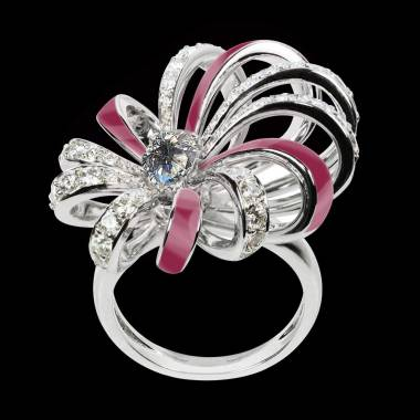 Bague diamant or Dahlia en laque