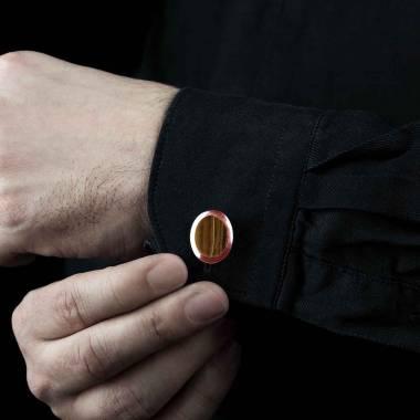 Bouton de manchette chevalière oeil du tigre en or rose vermeil 13,4g Ovalis