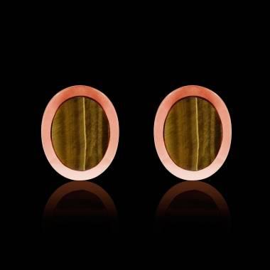 Boutons de manchettes chevalière oeil du tigre en or rose vermeil 13,4g Ovalis