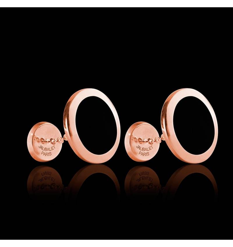 Bouton de manchette chevalière onyx en or rose vermeil 13,4g Ovalis