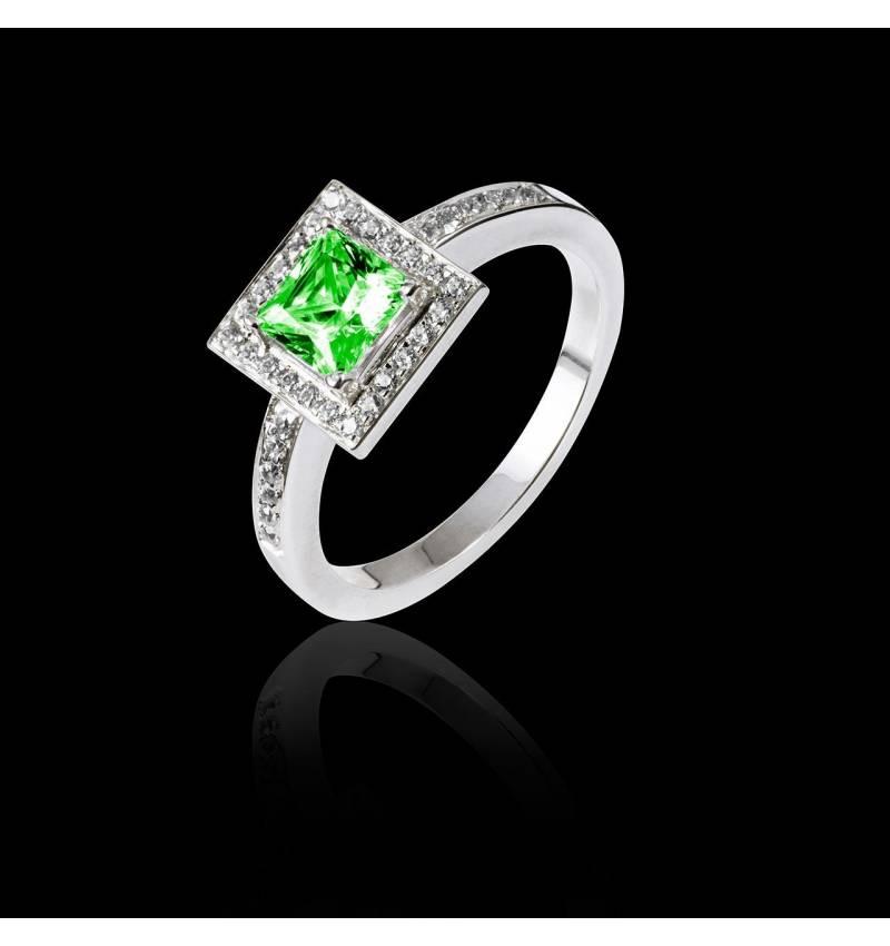 Bague de fiançailles émeraude pavage diamant or blanc Perrine