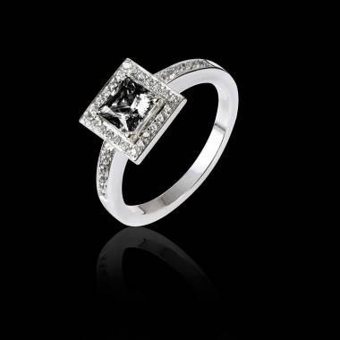 Bague de fiançailles diamant noir pavage diamant or blanc Perrine