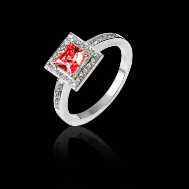 Bague de fiançailles rubis pavage diamant or blanc Perrine