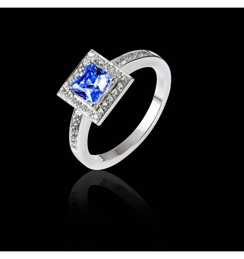 Bague de fiançailles saphir bleu pavage diamant or blanc Perrine