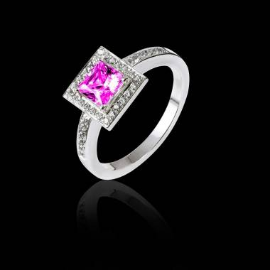 Bague de fiançailles saphir rose pavage diamant or blanc Perrine