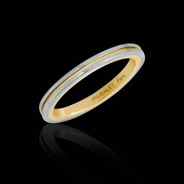 Alliance de mariage bicolore en or blanc et filet or jaune 3,05 g Mélanie