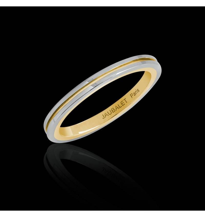 Alliance de mariage bicolore en or blanc et filet or jaune 3,05 g Mélanie