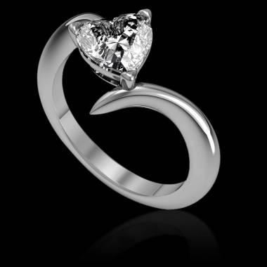 Bague de fiançailles diamant cœur or blanc Serpentine