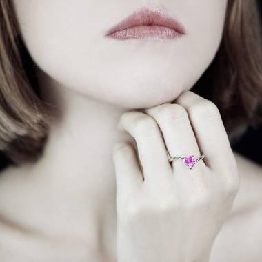 Bague de fiançailles saphir rose cœur or blanc Serpentine