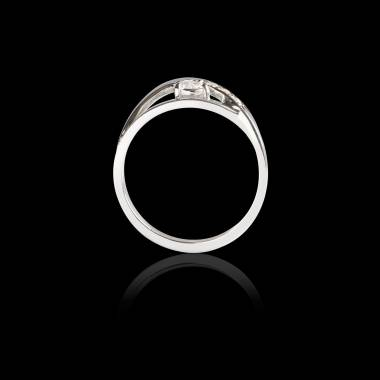 Bague Solitaire diamant pavage diamant or blanc Anaelle