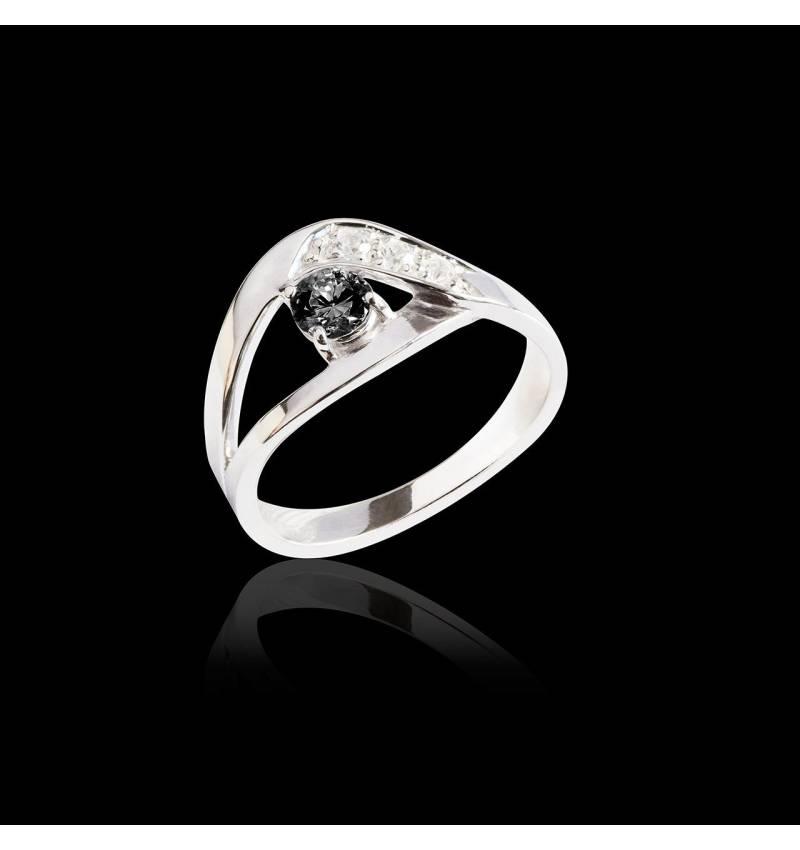 Bague de fiançailles diamant noir pavage diamant or blanc Anaelle