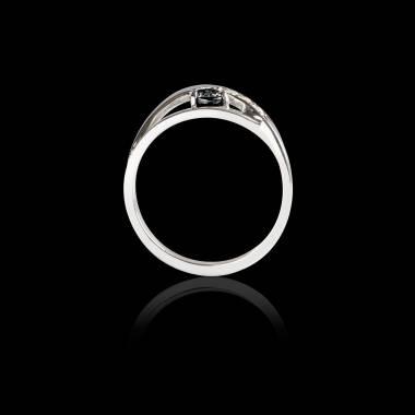 Bague Solitaire diamant noir pavage diamant or blanc Anaelle