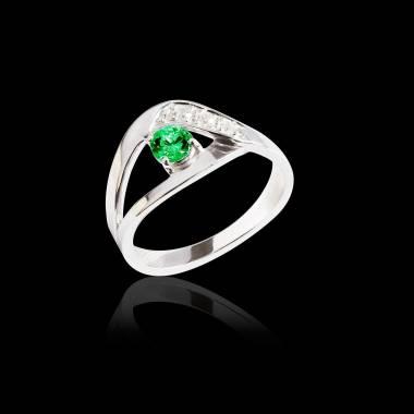 Bague de fiançailles émeraude pavage diamant or blanc Anaelle