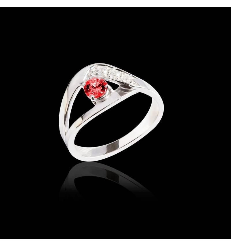 Bague de fiançailles rubis pavage diamant or blanc Anaelle