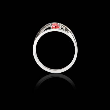 Bague Solitaire rubis pavage diamant or blanc Anaelle