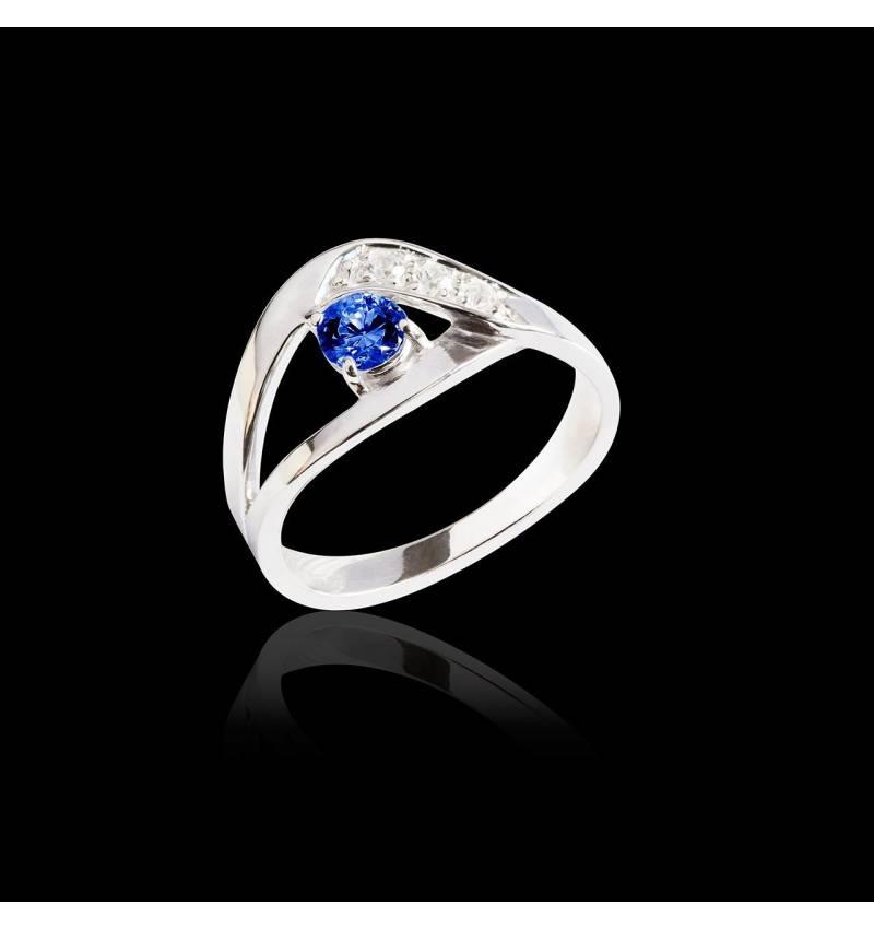 Bague de fiançailles saphir bleu pavage diamant or blanc Anaelle