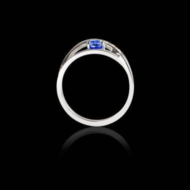 Bague Solitaire saphir bleu pavage diamant or blanc Anaelle