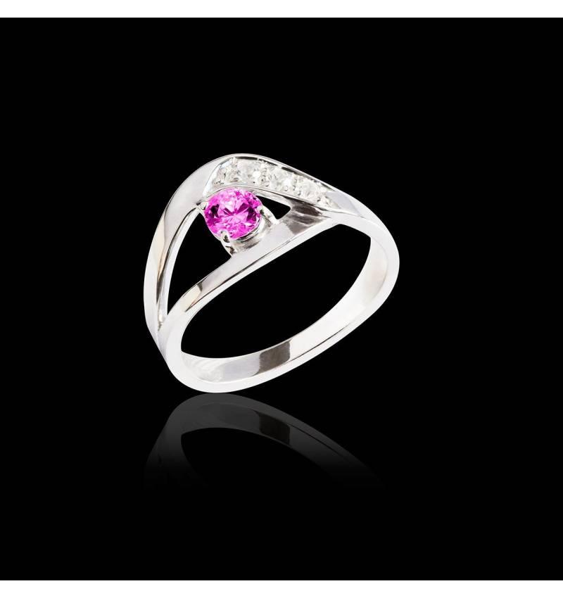 Bague de fiançailles saphir rose pavage diamant or blanc Anaelle