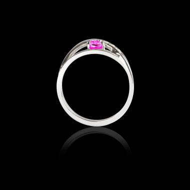 Bague Solitaire saphir rose pavage diamant or blanc Anaelle