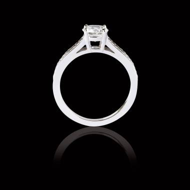Bague Solitaire diamant pavage diamant or blanc Marie