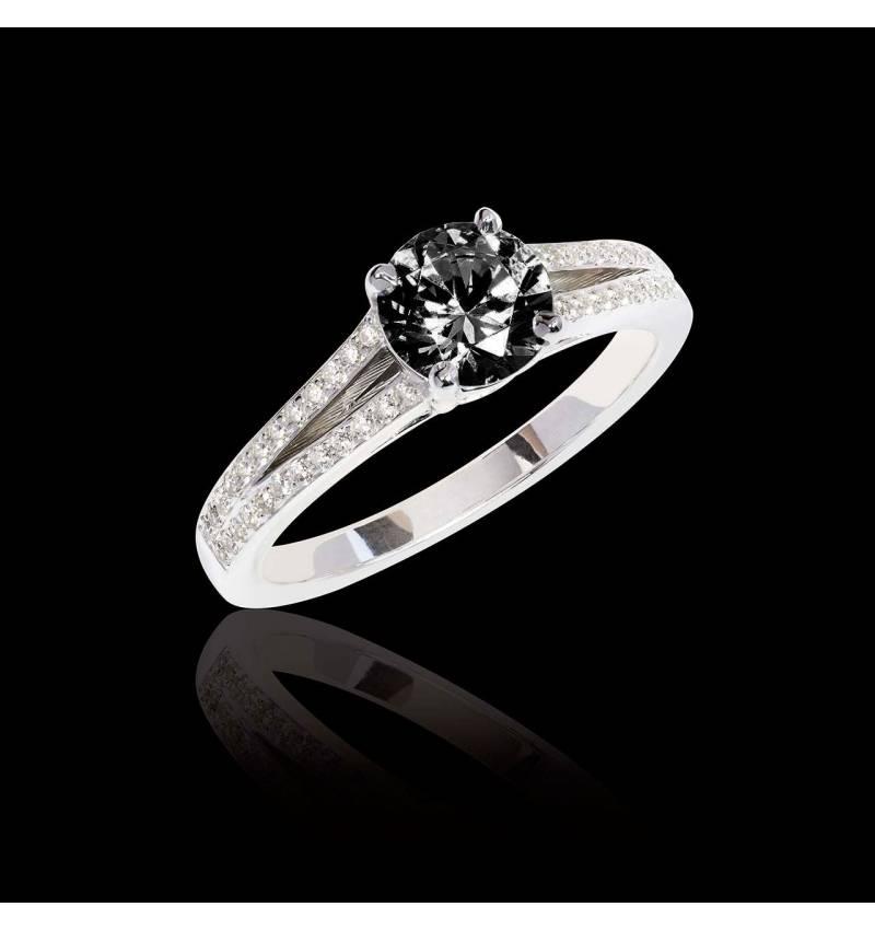 Bague de fiançailles diamant noir pavage diamant or blanc Marie