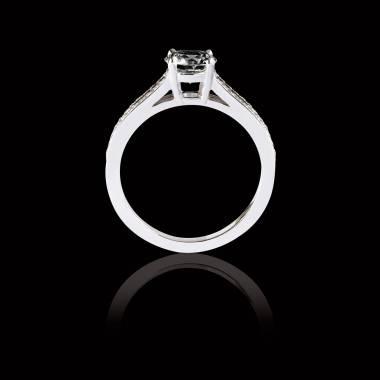 Bague Solitaire diamant noir pavage diamant or blanc Marie