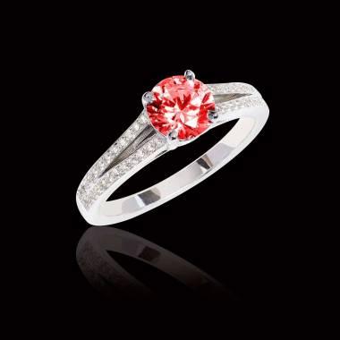 Bague de fiançailles rubis pavage diamant or blanc Marie