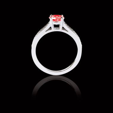 Bague Solitaire rubis pavage diamant or blanc Marie