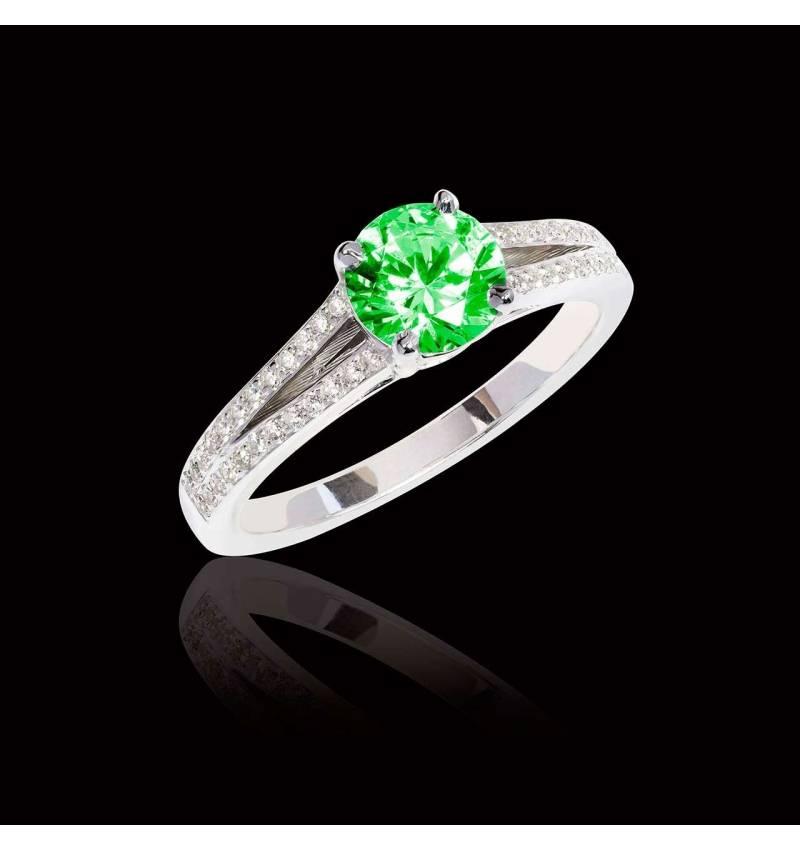 Bague de fiançailles émeraude pavage diamant or blanc Marie