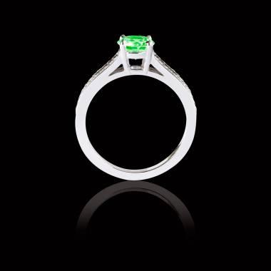 Bague Solitaire émeraude pavage diamant or blanc Marie