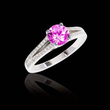 Bague de fiançailles saphir rose pavage diamant or blanc Marie