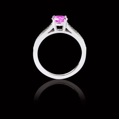Bague Solitaire saphir rose pavage diamant or blanc Marie