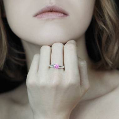 Bague saphir rose pavage diamant or blanc Marie