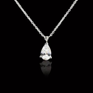 Pendentif diamant pavage diamant or blanc Goutte d'amour