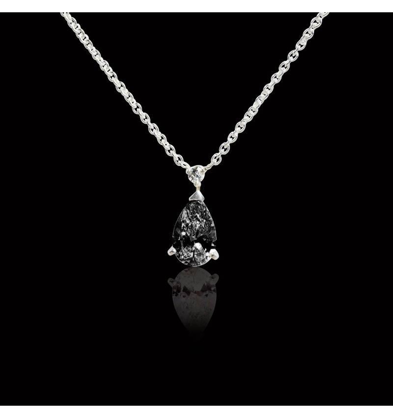 Pendentif diamant noir pavage diamant or blanc Goutte d'amour