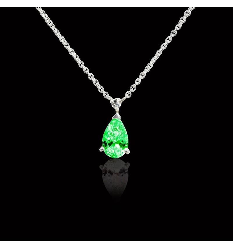 Pendentif émeraude pavage diamant or blanc Goutte d'amour