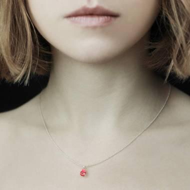 Pendentif rubis pavage diamant or blanc Goutte d'amour