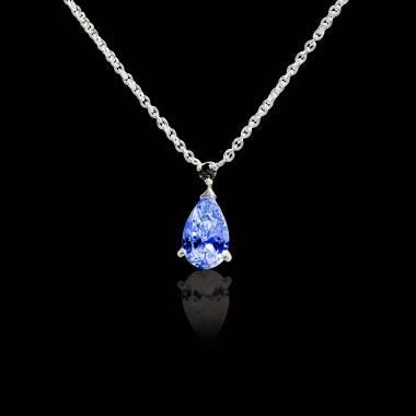 Pendentif saphir bleu pavage diamant or blanc Goutte d'amour