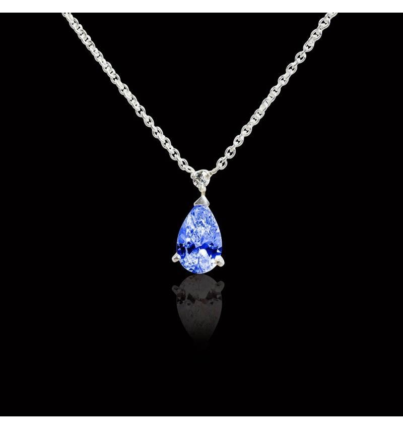 Saphir Bleu Collier Diamant Lune Pendentif Argent Sterling Crescent or blanc