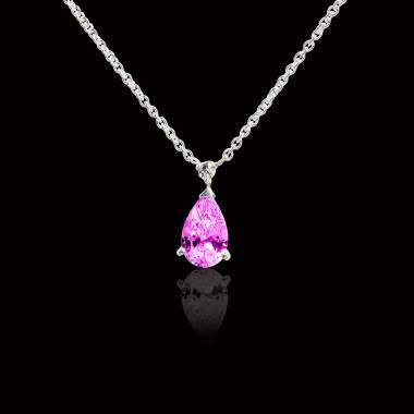 Pendentif saphir rose pavage diamant or blanc Goutte d'amour