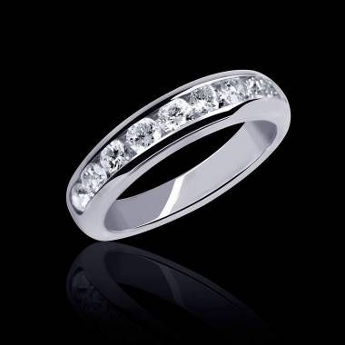 Alliance de mariage pavage diamant 0,5 carat or blanc Florence