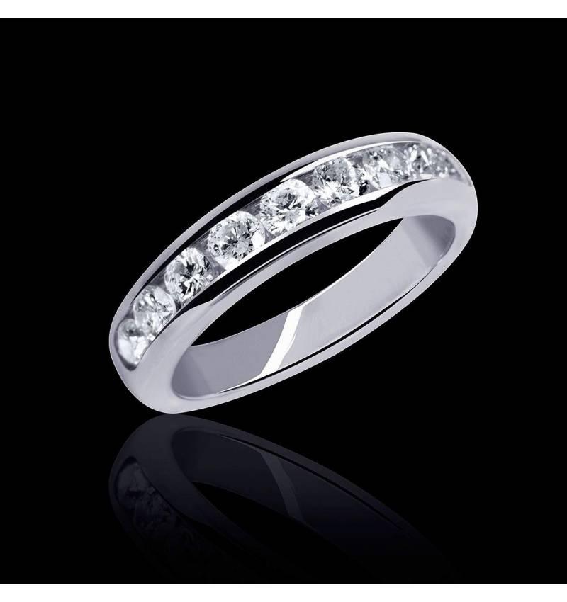 Alliance de mariage pavage diamant 0,5 carat or blanc Florence