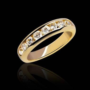 Alliance de mariage pavage diamant 0,6 carat or jaune Florence