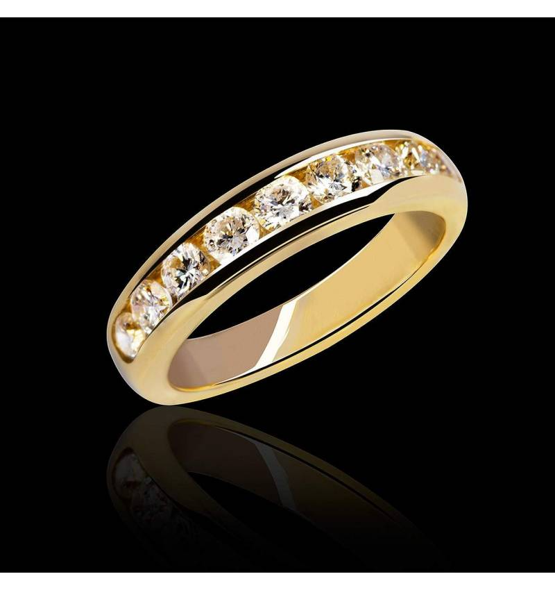 Alliance de mariage pavage diamant 0,6 carat or jaune Florence