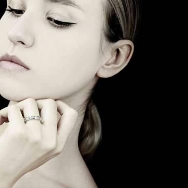 Alliance de mariage pavage diamant 0,7 carat platine Florence