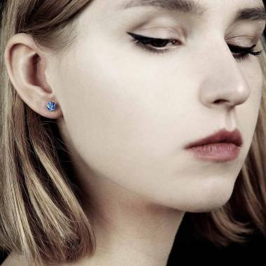 Boucles d'oreilles saphir bleu or blanc Just me