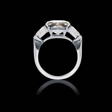 Bague Solitaire diamant pavage diamant or blanc Stéphanie